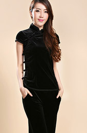 Black Stretchy Velour Mandarin Collar Qipao / Cheongsam Shirt