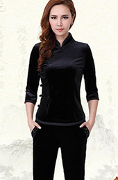 Stretchy Velour Mandarin Collar Qipao / Cheongsam Shirt