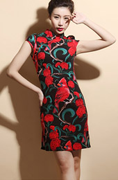 Contrast Stretchy Linen Qipao / Cheongsam Dress in Bird Print