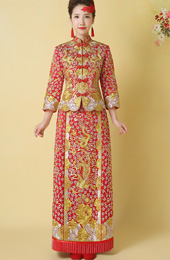 Red Embroidered Chinese Wedding Qun Kwa - Jacket & Skirt