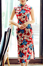 Red Floral Linen Qipao / Cheongsam Dress