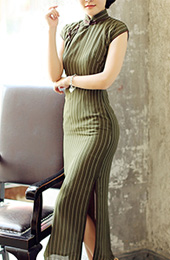 Green Ankle-Length Linen Qipao / Cheongsam Dress in Stripe Chiffon