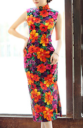 Tea-Length Linen Qipao / Cheongsam Dress in Blossom Print