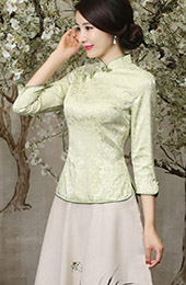 Green Mandarin Collar Qipao / Tang Shirt