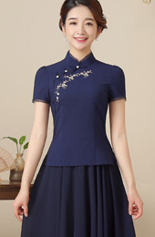 Embroidered Mandarin Collar Qipao / Cheongsam Top