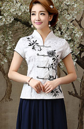 Embroidered Mandarin Collar Qipao / Tang Blouse