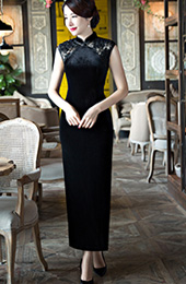 Black Velour Ankle-Length Qipao / Cheongsam Dress with Split
