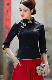 Mandarin Collar Qipao / Tang Top with Half Sleeves