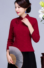 Cotton Mandarin Collar Qipao / Cheongsam Top for Autumn