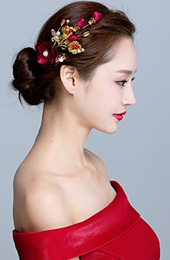 2 Pieces Wine Red Silk Hair Flower Clip