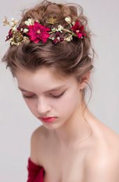 Silk Blossom & Gold Tone Butterfly Bridal Hair Vine