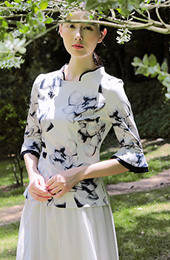 Floral Print Qipao / Cheongsam Top with Bell Sleeve