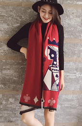 3 Color Option, Poker Pattern Wrap Scarf