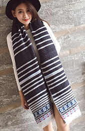 5 Color Options, Striped Tassel-Trim Knit Scarf