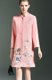 Girl Embroidered Wool-Blend Qipao / Cheongsam Coat