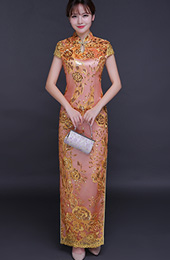 Epic Night Pink Sequined Qipao / Cheongsam Wedding Dress with Split