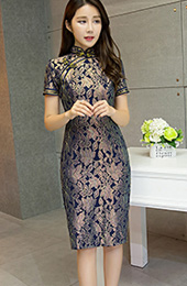 Silver Purple Floral Midi Qipao / Cheongsam Dress