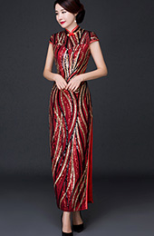 Sequins Striped Full-Length Qipao / Cheongsam Dress
