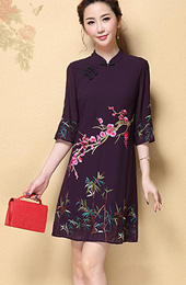 Shift Embroidered Chiffon Qipao / Cheongsam Dress with Half Sleeve