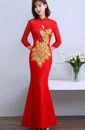 Red Lace Phoenix Qipao / Cheongsam Wedding Dress