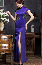 Purple Embroidered Qipao / Cheongsam Evening Dress with Split Front