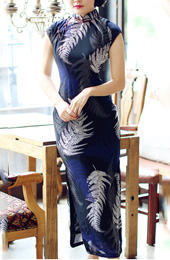 Leaf Printed Chiffon Qipao / Cheongsam Dress with Split