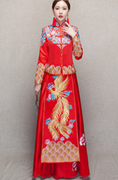2 Piece, Floral & Phoenix Embroidery Qun Kwa for Wedding