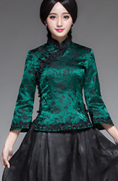 Silk Floral Qipao / Cheongsam Top with Lace Trim