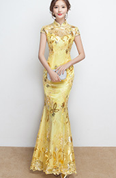 Yellow Ankle-length Fishtail Qipao / Cheongsam / Chinese Wedding Dress