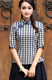 Plaid Qipao / Tang Shirt with Half Sleeve