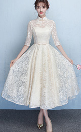 Beige Lace Ankle-Length Qipao / Cheongsam Dress with Tulle Skirt