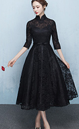 Black Lace Ankle-Length Qipao / Cheongsam Dress with Tulle Skirt