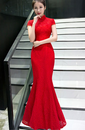 Delicate Red Lace Fishtail Qipao / Cheongsam Wedding Dress