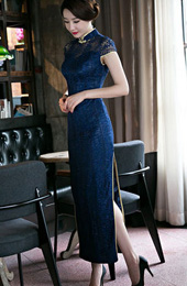 Mandarin Collar Lace Qipao / Cheongsam Prom Dress with Split