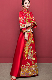 Phoenix Embroidered Wedding Qun Kwa with Long Sleeve