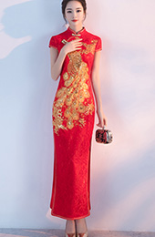 Red Lace Phoenix Split Qipao / Cheongsam Wedding Dress