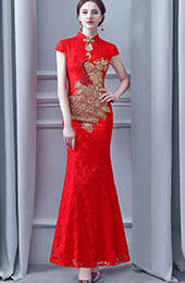 Red Lace Long Phoenix Qipao / Cheongsam Wedding Dress