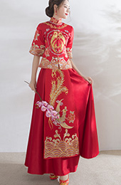 Red Embroidered Phoenix Qun Kwa for Wedding