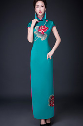 Green Ankle-Length Qipao / Cheongsam Dress in Lotus Print