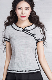 Gray Qipao / Cheongsam Top with Lace Trim