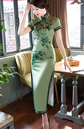 Sage Green Floral Long Qipao / Cheongsam Party Dress