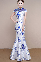 White and Blue Floral Print Qipao / Cheongsam Formal Dress