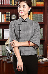 Qipao Top / Tang Shirt with 3/4 Sleeves