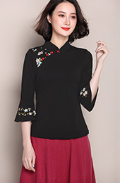 Embroidered Qipao / Cheongsam Top with Frill Sleeve