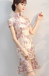 Embroidered Mesh Overlay Qipao / Cheongsam Dress with Frill Hem