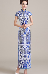 Long Qipao / Cheongsam Party Dress in Blue and White Phoenix