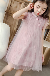 Girl's Embroidered Fairy Cheongsam / Qipao Dress with Ruffle Sleeve