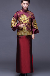 2-Piece Embroidered Men's Chinese Wedding Suit, Jacket & Gown