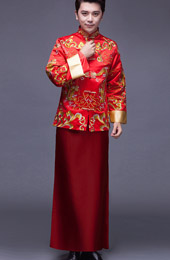 Red Embroidered Men's Wedding Tang Suit, Jacket & Chang Shan
