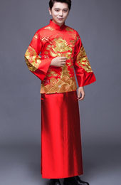 Red Embroidered Men's Chinese Wedding Suit, Jacket & Gown